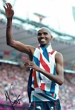 Mo FARAH Autograph 12x8 Signed Photo 2 AFTAL COA Olympic Gold Medal Winner