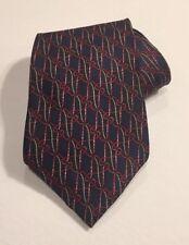 CLAYBROOKE Silk Necktie Navy Blue Red Holiday Pattern Wide Neck Tie NWOT