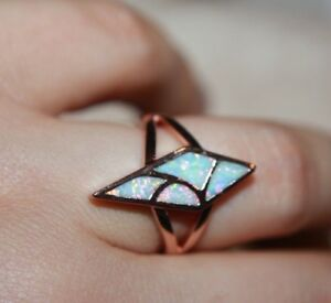 fire opal ring gemstone rose gold silver jewelry 5.5 6.5 7.5 chic cocktail band