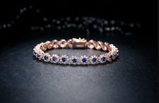 10Ct Round Cut Blue Sapphire Diamond Halo Tennis Bracelet 14K Rose Gold Finish