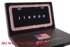 #1 JR2 Luxury Handmade Bling Rhinestone Metal License Plate Frame+Anti-Theft Cap