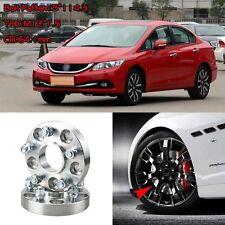 "4pcs 1"" Wheel Spacers Adapters 5 Lug 5x4.5""/5x114.3-12x1.5 For Honda Civic 2004+"