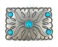 Vintage Silver Alloy Native Floral Blue Turquoise Womens Western Belt Buckle