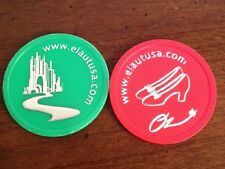 Set Of 2 WIZARD OF OZ Tokens -Castle & Slippers Plastic Nickel / Poker Chip Size