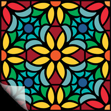 """SET 4 ART STAINED GLASS STICKERS WINDOW VINYL TILE DECALS HOME DECOR VITRAGE 9"""""""