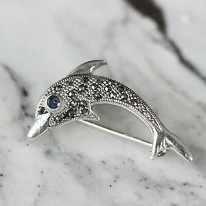Sterling Silver 925 Marcasite Vintage Inspired Small Dolphin Brooch Pin