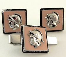 Warrior Cufflinks Set Swank Pink Cameo Roman Greek Soldier