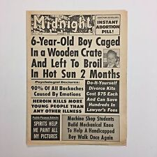 Midnight Magazine Tabloid Newspaper 1970 Abortion Pill Charles Atlas Picasso
