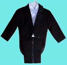 BOYS BLACK TUXEDO SILVER VEST WEDDING RING BEARER BABY INFANT TODDLER SIZE 0