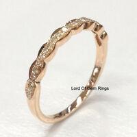 Matching Wedding Band!Diamond Anniversary Ring,14K Rose Gold,Art Deco Antique