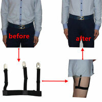1Pair Men's Shirt Stays Holders Elastic Garter Belt Suspender Locking Clamps