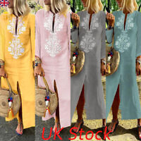 Women Loose Paisley Baggy Cotton Linen Kaftan Dress Long Sleeve Long Maxi Dress