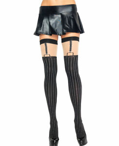 New Leg Avenue 6321 Opaque Pinstriped Thigh High Stockings