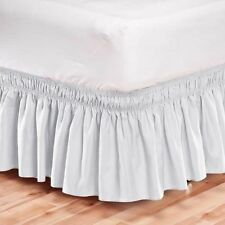 Elastic Bed Skirt Dust Ruffle Easy Fit Wrap Around White Color Queen Size