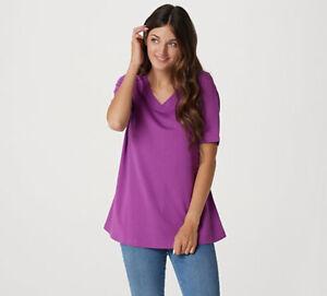 Isaac Mizrahi Live! Essentials Pima Cotton Swing T-Shirt 1X Wild Berry A367693