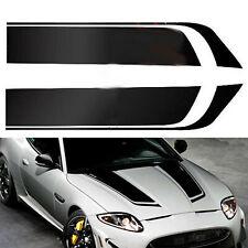 2Pcs Car Racing Sports Stripes Hood Decal Auto Vinyl Bonnet Sticker Black