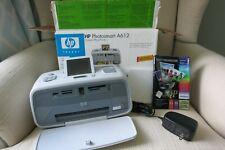 HP Photosmart A612 Compact Photo Printer Very Good A/C Adapter New Pkg Paper EUC