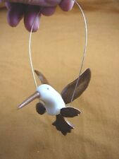 (TNE-BIR-HU-44-C) Hummingbird bird swing TAGUA NUT figurine carving hummingbirds
