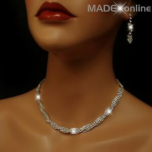 Set T, Silver Plated Diamante Bling Twisted Collar Necklace and earring Set