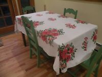 Vintage Linen TABLECLOTH, Christmas Red Poinsettia, Bells,Ornaments,Holly 56x84