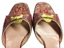 PRADA Mauve Merlot Gold Silk Brocade Mules Sandals Kitten Heel Slides Sz 37.5 M