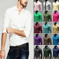 Men Long Sleeve Stylish Formal Office Business Dress T-shirt Tops Slim Fit M-3XL