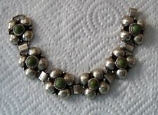 Rare old Vintage Mexico Silver + jade Green Stones Bracelet wide links HTF