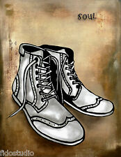 Abstract art retro print shoes Modern Decor HUGE wall painting Canvas Fidostudio