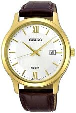 SEIKO SUR298P1 Gents Analogue, WR 100m, Date, Brown Leather Strap RRP £260.00