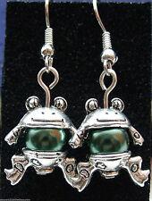 Tibetan Silver Frog Dangly Earrings with Rich Green Glass Pearls *Cute Gift*