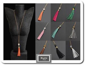 Endless Chain Necklace Chain Pendant Pompom Gemstone Onyx Malachite Quartz Japis