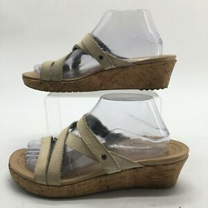 Crocs Womens 9 A-Leigh Mini Casual Strappy Wedge Sandals White Leather Cork