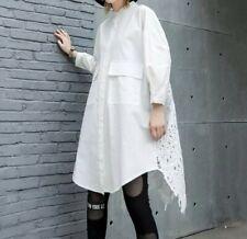 White Crochet Long Designer Summer Elegant Tunic Bloggers Floaty Shirt Dress 12