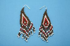 Avon Beaded Chic Earrings Red Gold White Hook Attachment Costume Jewelry Fashion