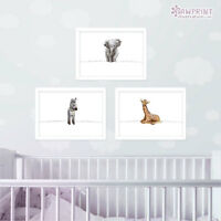 Safari Animal Nursery Print Set Of 3 | Christening Baby Shower Gift | Unframed