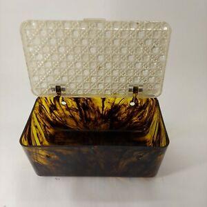 Vintage Sewing Box Diamond Top Tiger Orange Marbled Plastic