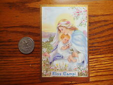 ANTIQUE from convent lithographied WITH GOLD PRINT HOLY CARD FLOS CAMPI