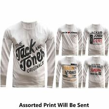 New Jack and Jones Men's Printed Graphic Crew Neck Long Sleeve T-Shirt Top