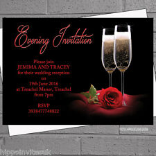 Personalised Wedding Evening Reception Invitations x 12 with env Red Rose H0602