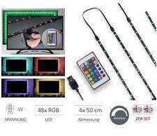 2x Set TV Backlight LED Hintergrund-Beleuchtung Licht USB Stripe Streifen 48 RGB