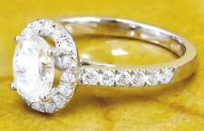 14K White Gold Oval Cut Diamond Engagement Ring Deco Halo Bridal Wedding 1.45ctw