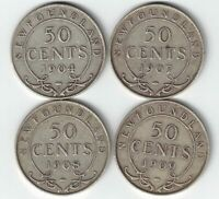 4 X NEWFOUNDLAND 50 CENTS EDWARD VII STERLING SILVER COINS 1904H 1907 1908 1909