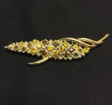 Vintage Gold Tone Leaf Brooch Set With Two Tones Of Faceted Amber Glass 9.5Cm