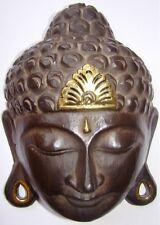 Masque Bouddha zen Bouddhisme en bois dorures Tibet Népal 20 cm