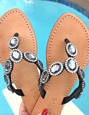 NEW 7 MYSTIQUE Bijou Black Diamond Crystal Rhinestone Thong Sandals Flip Flops