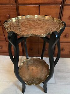 Vintage Chinese Engraved Scalloped Double Brass Tray & Wood Table