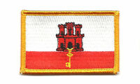 GIBRALTAR FLAG PATCH BADGE IRON ON EMBROIDERED