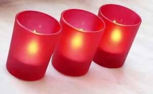 RED FROSTED Glass Tealight Candle Holder Wedding Party Anniversary BUY QTY Req