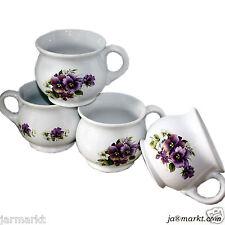 BECHER 4er SET - Tassen - Keramik - Tee- Kaffeebecher - Suppentassen m. Blumen