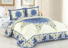 LAURA MAE * King * QUILT SET : COUNTRY FLORAL YELLOW GINGHAM BLUE STARBURST